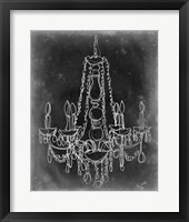 Framed Chalkboard Chandelier Sketch I