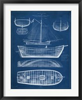 Framed Antique Ship Blueprint II