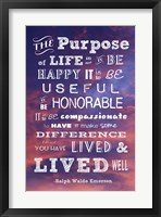Framed Purpose of Life -Ralph Waldo Emerson