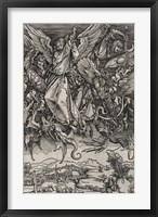 Framed St. Michael Fighting the Dragon by Albrecht Durer, 1498