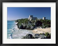 Framed Pyramid on the seashore, El Castillo, Tulum Mayan, Quintana Roo, Mexico