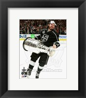 Framed Drew Doughty with the Stanley Cup Game 5 of the 2014 Stanley Cup Finals
