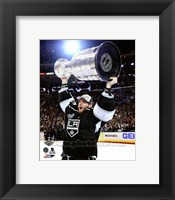 Framed Jonathan Quick with the Stanley Cup Game 5 of the 2014 Stanley Cup Finals