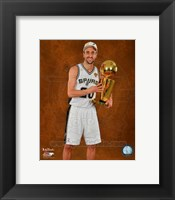 Framed Manu Ginobili with the NBA Championship Trophy Game 2014
