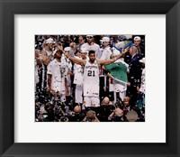 Framed Tim Duncan Celebrates Winning Game 5 of the 2014 NBA Finals