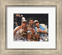 Framed Tony Parker, Tim Duncan, Manu & Ginobili with the NBA Championship Trophy Game 5 of the 2014 NBA Finals
