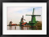 Framed Dutch Zaanse Schans Windmills photograph