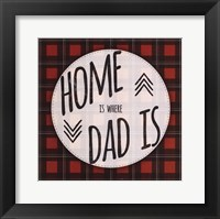 Framed Home is Where Dad Is - red