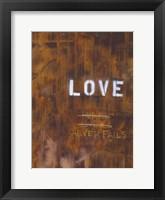 Love Never Fails I Framed Print
