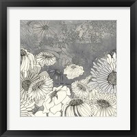 Flowers on Grey I Framed Print