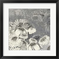 Framed Flowers on Grey II