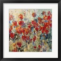 Framed Red Poppy Field II