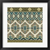 Framed Turquoise Textile I