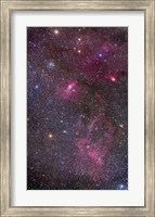 Framed Nebulosity around the open cluster Messier 52, including the Bubble Nebula
