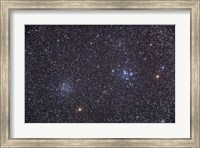 Framed Open clusters Messier 47 and Messier 47 in the constellation Puppis