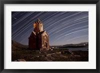 Framed Star trails above Dzordza church, Iran