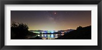 Framed Lunar eclipse and Milky Way above Taleqan Lake, Iran
