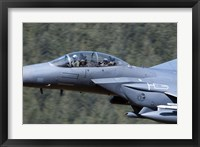 Framed F-15E Strike Eagle low flying over Wales, United Kingdom