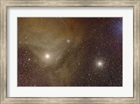 Framed Messier 4 and NGC 6144 globular clusters with Antares, a red supergiant star