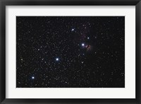 Framed Orion's Belt, Horsehead Nebula and Flame Nebula