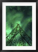 Framed Powerlines and aurora borealis, Tjeldsundet, Norway
