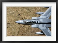 Framed Front section of a Royal Air Force Tornado GR4 during low fly training in North Wales