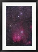 Framed NGC 3766 and the Lambda Cen Nebula in the constellation Centaurus