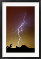 Framed bright bolt of lightning at the suburbs of Buenos Aires, Argentina