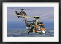 Framed Eurocopter AS532 Cougar helicopters in flight over Bulgaria