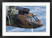 Framed Bulgarian Air Force Eurocopter AS532 AL Cougar over the Black Sea