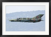 Framed Bulgarian Air Force MiG-21bis low flying over Bulgaria
