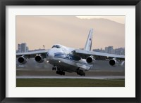 Framed Antonov An-124 aircraft taking off from Sofia Airport, Bulgaria