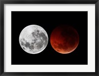 Framed composite showing the moon before the eclipse and during totality phase