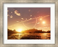 Framed scene on a distant moon orbiting a gas giant in a trinary star system
