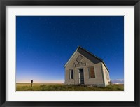 Framed 1909 Liberty School on the Canadian Prarie in moonlight with Big Dipper