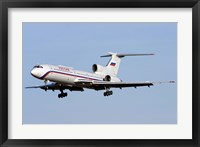 Framed Tupolev Tu-154M on final approach in Bulgaria
