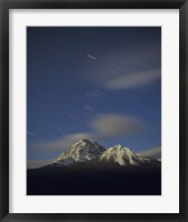 Framed Orion star tails over Mt Temple, Banff National Park, Alberta, Canada