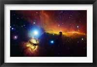 Framed Alnitak region in Orion with Flame Nebula (NGC 2024), and Horsehead Nebula