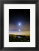 Framed Moonset over the sea with Pleiades (M45) cluster