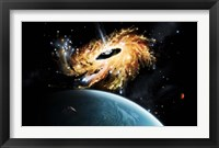 Framed space shuttle tries to avoid the gravity well of a supermassive black hole