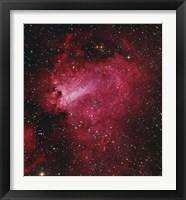 Framed Messier 17, The Swan Nebula in Sagittarius
