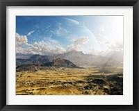 Framed Clouds break over a desert on Matsya, giving a glimpse of the planet Samandar