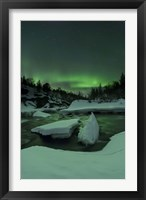 Framed Aurora Borealis, Tennevik River, Troms, Norway
