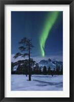Framed Moonlight and aurora over Nova Mountain Wilderness, Norway
