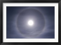 Framed Halo around full moon taken near Gleichen, Alberta, Canada