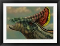 Framed Olorotitan dinosaur portrait