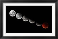 Framed composite showing different stages of the 2010 solstice total moon eclipse