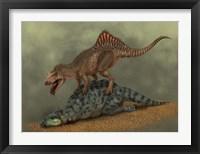 Framed Concavenator kills a young iguanodon dinosaur