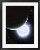 Framed tiny moon Rakka Ume travels into the shadow of the planet Tenjin