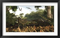 Framed group of Ankylosaurid dinosaurs from the early Cretaceous